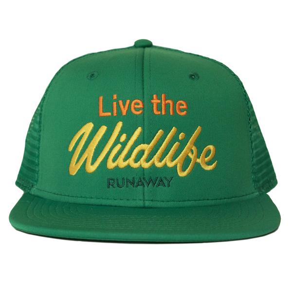 Runaway live the wildlife green trucker front