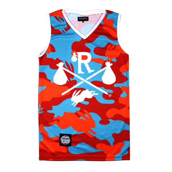 Tropical vacation camo basketball jersey runaway